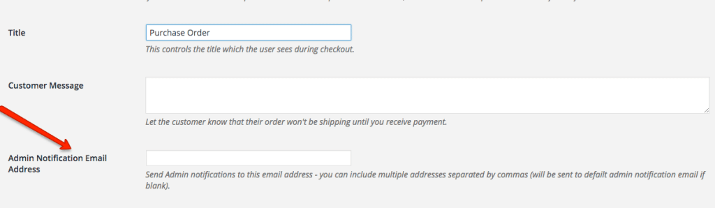 Purchase Order Admin Email